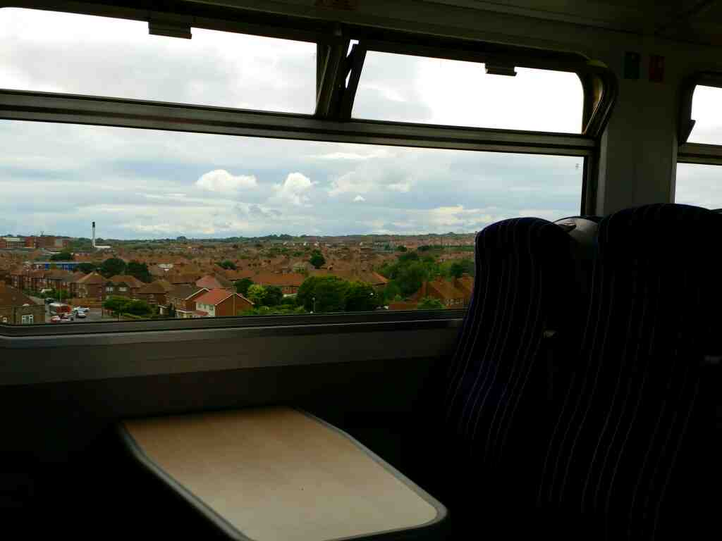 The north eastern suburbs of Hartlepool on a Northern Rail Middlesbrough to Newcastle train