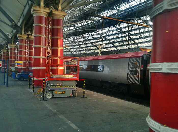 Virgin Trains Pendolino can be seen awaiting departure to London Euston