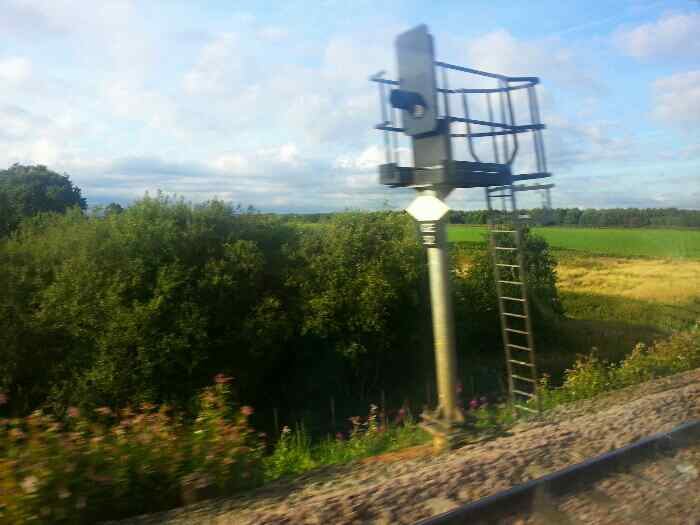 An interested shot of a railway signal