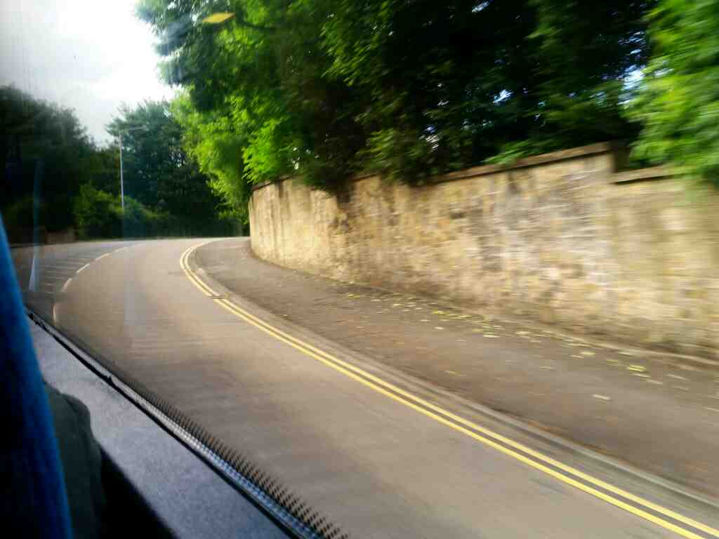Climbing out of Morpeth on Pottery Bank on a X15 Newcastle to Berwick bus