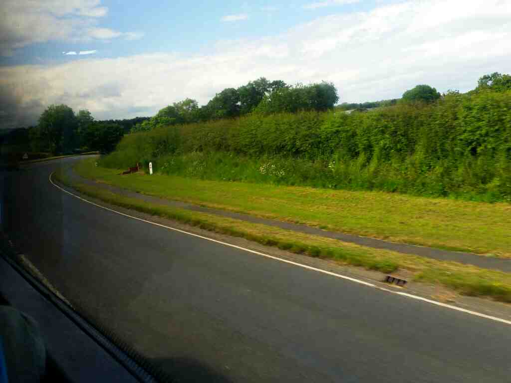 A192 north of Morpeth and heading for the A1 on a X15 Newcastle to Berwick bus