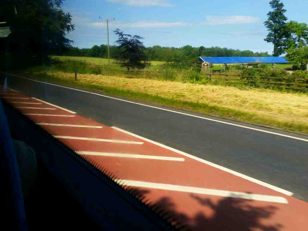 Northern end of the Morpeth Bypass A1 on a X15 Newcastle to Berwick bus