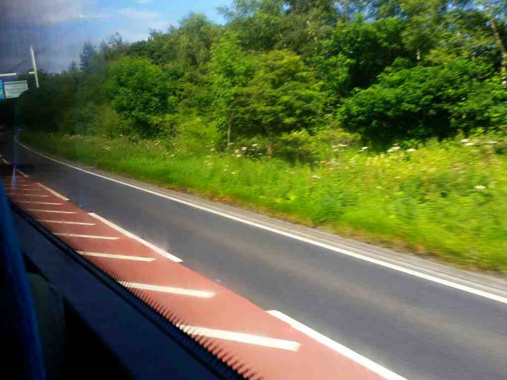 The A1 north of Morpeth on a X15 Newcastle to Berwick bus
