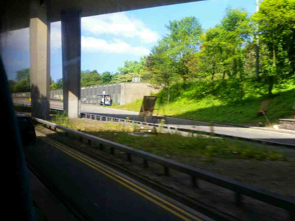 Passing under the M167 on Great North Rd Newcastle on a X15 Newcastle to Berwick bus