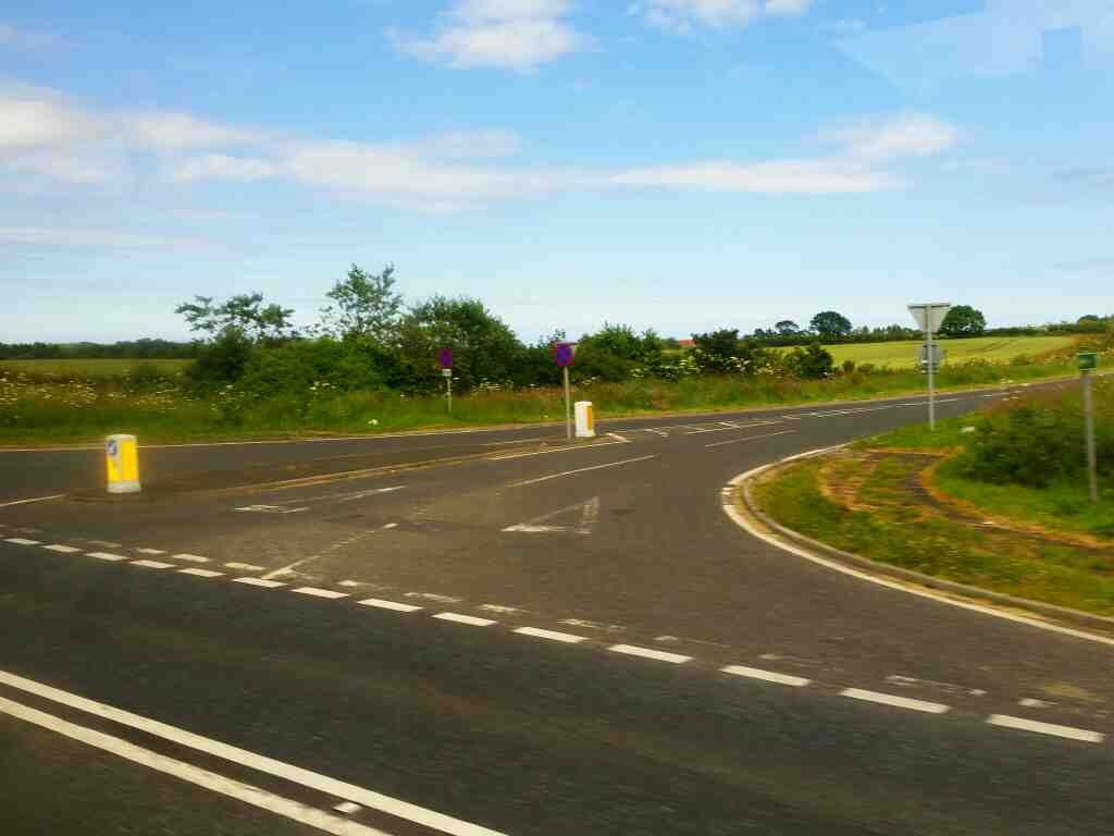 Junction of the A1 and the road to Chevington Moor on a X15 Newcastle to Berwick bus