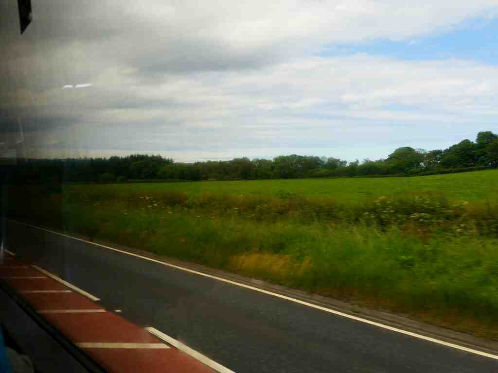 Heading ever Northwards along the A1 in Northumberland on a X15 Newcastle to Berwick bus