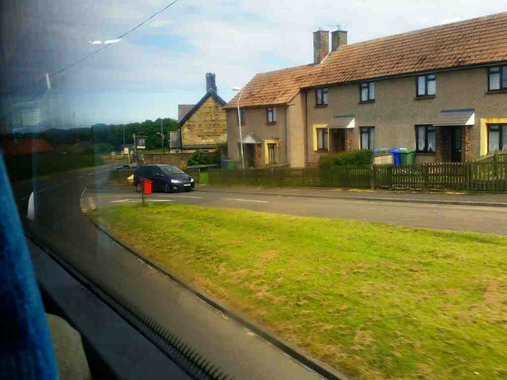Farne Road Shilbottle Northumberland on a X15 Newcastle to Berwick bus