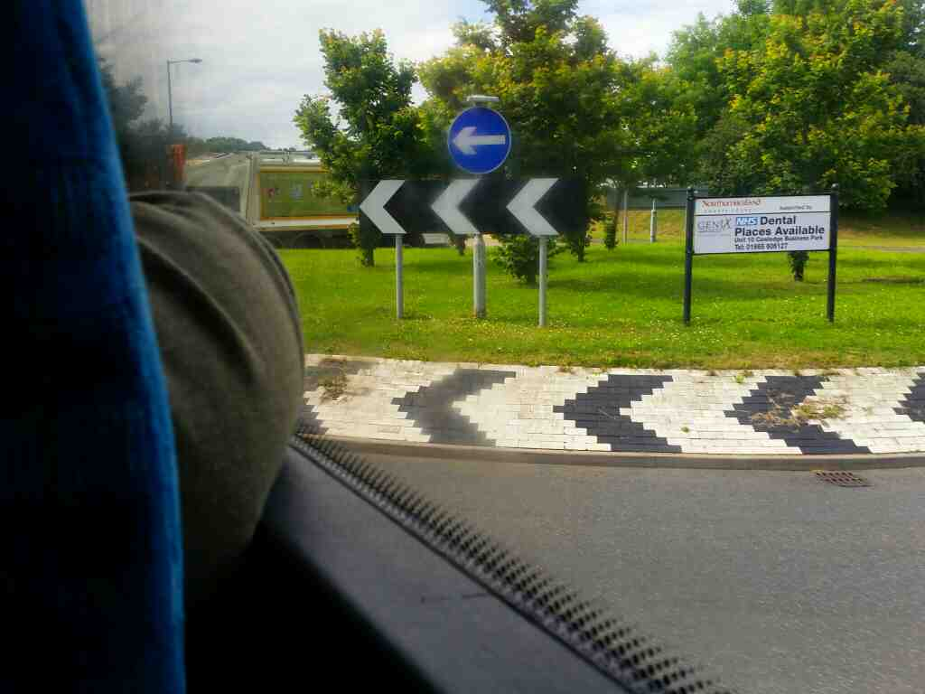 Roundabout at the junction of the A1 and the A1068 Alnwick on a X15 Newcastle to Berwick bus