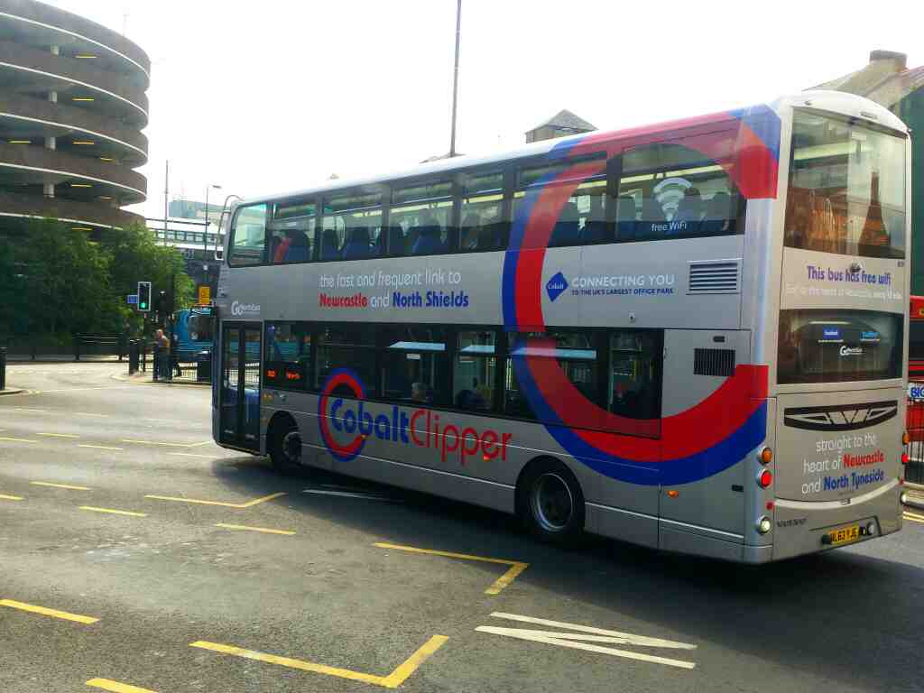 A Cobolt Clipper 310 bus bound for North Shields at Newcastle Haymarket bus station taken off a Berwick bound X15 bus