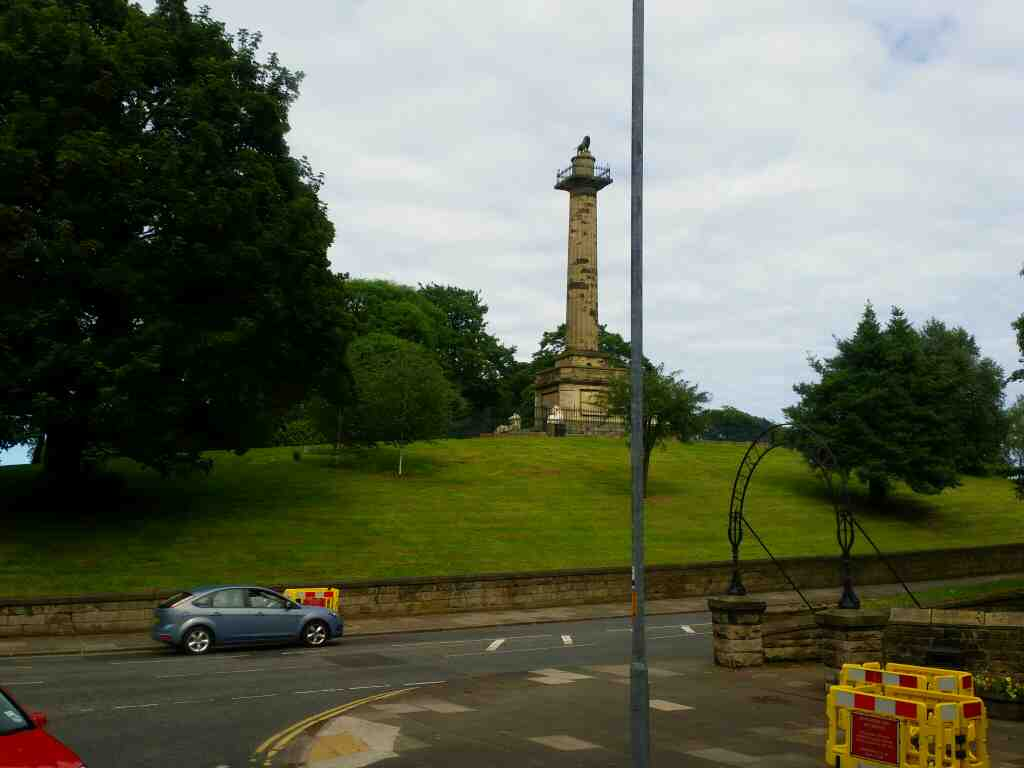 Junction of Prudhoe St and the B6346 Alnwick on a X15 Newcastle to Berwick bus. Also a view of the�Tenantry Column
