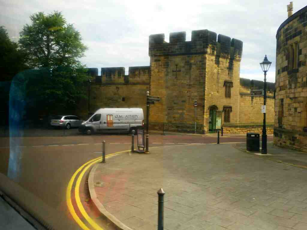 Junction of the Peth and Bailiffgate at Alnwick Castle on a X15 Newcastle to Berwick bus