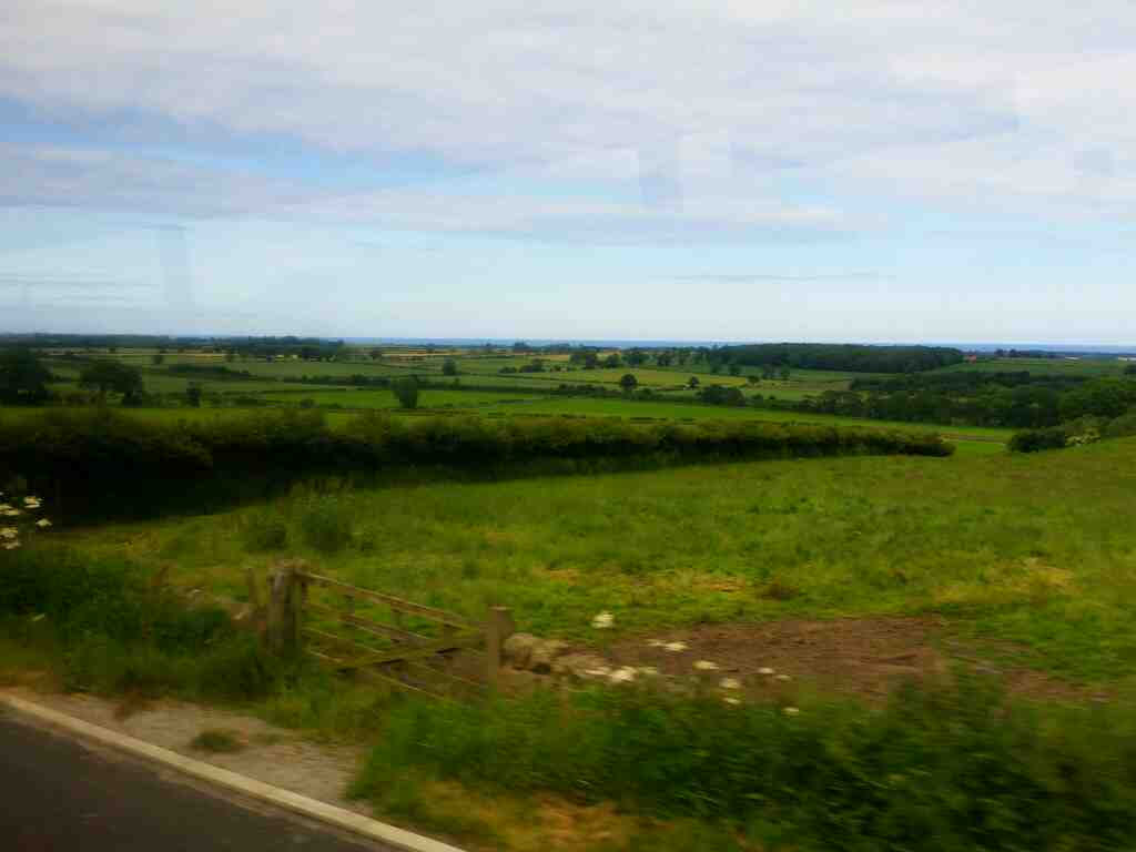 Views of the Northumberland coast from the B6341 on a X15 Newcastle to Berwick bus