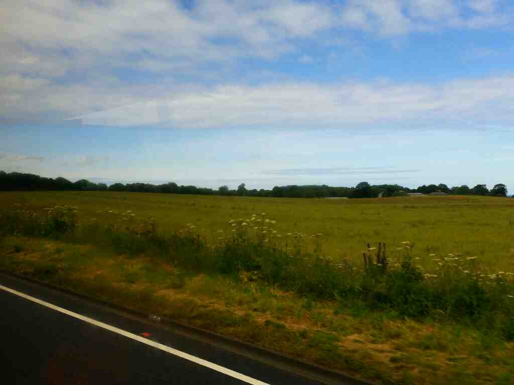 The A1 north of Alnwick on a X15 Newcastle to Berwick bus