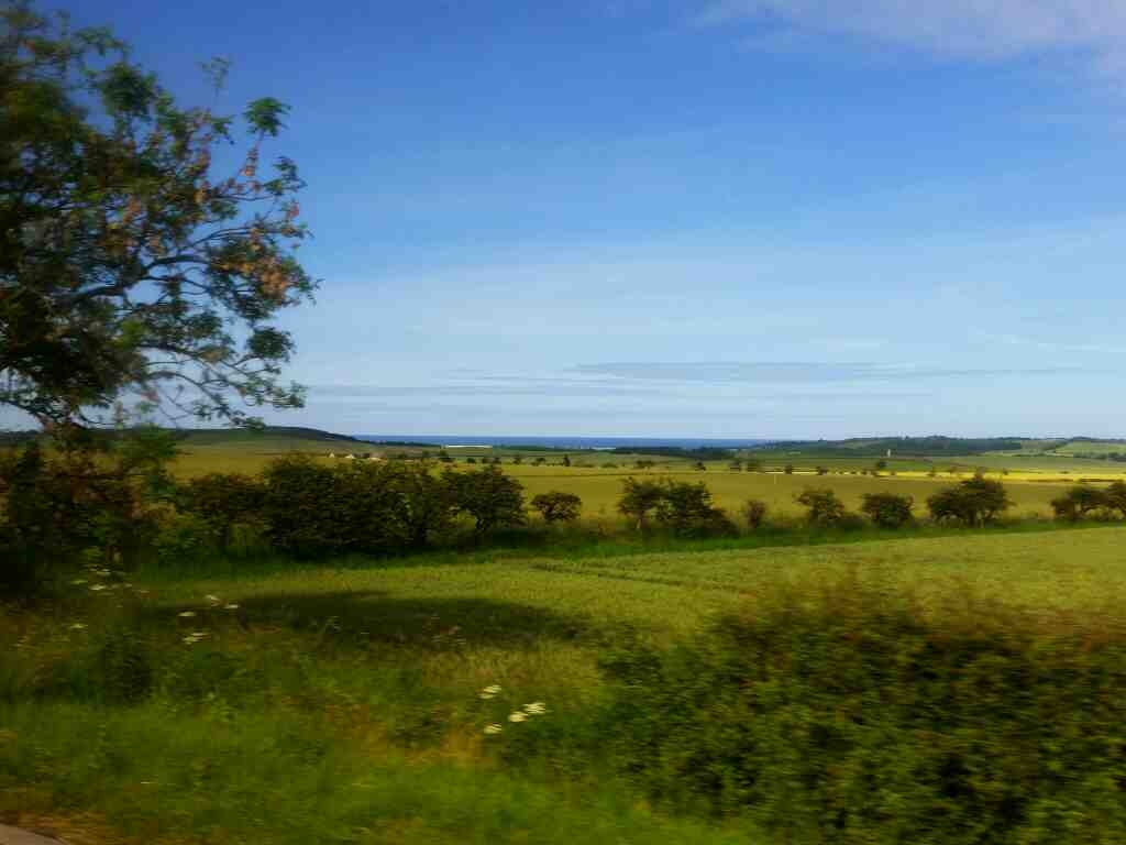 Views of the sea from the A1 north of Adderstone on a X15 Newcastle to Berwick bus