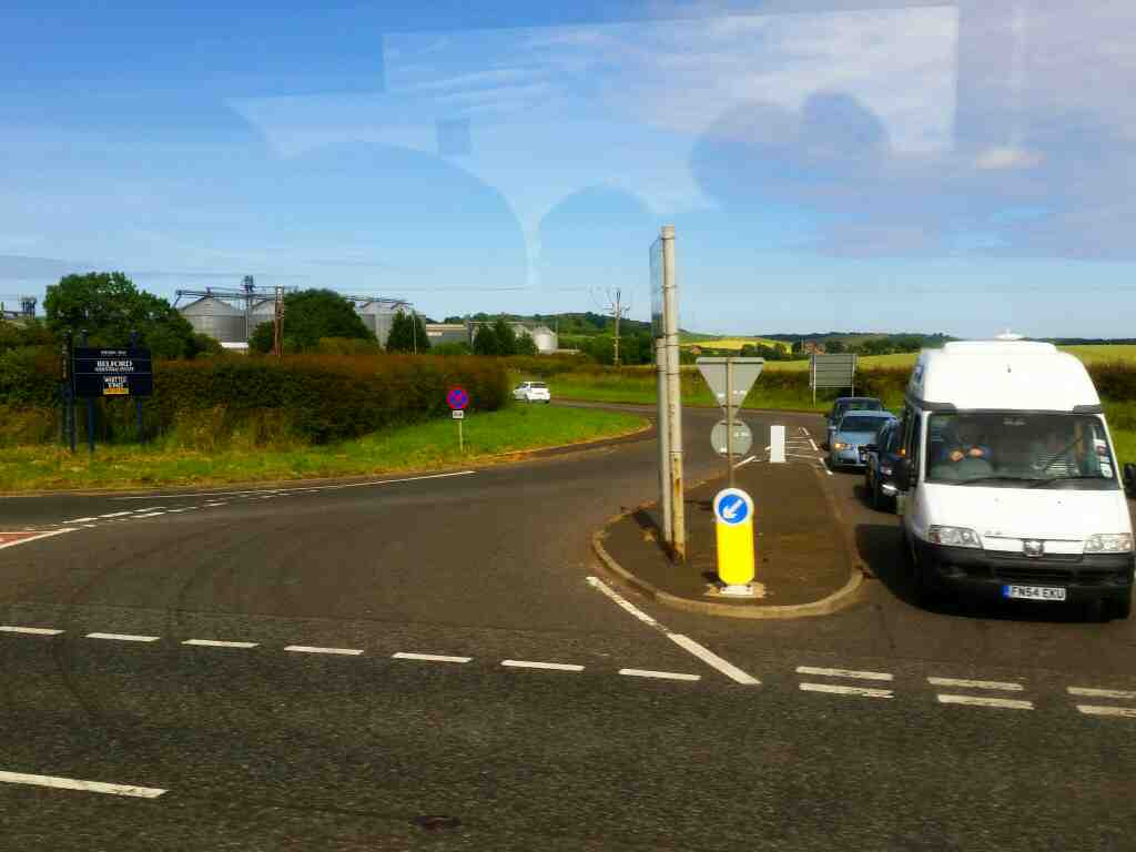 Junction of Station Road and the A1 Belford Northumberland on a X15 Newcastle to Berwick bus
