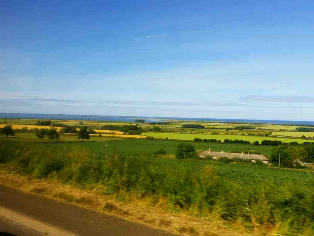 Holy Island and Lindisfarne from North Bank on a X15 Newcastle to Berwick bus