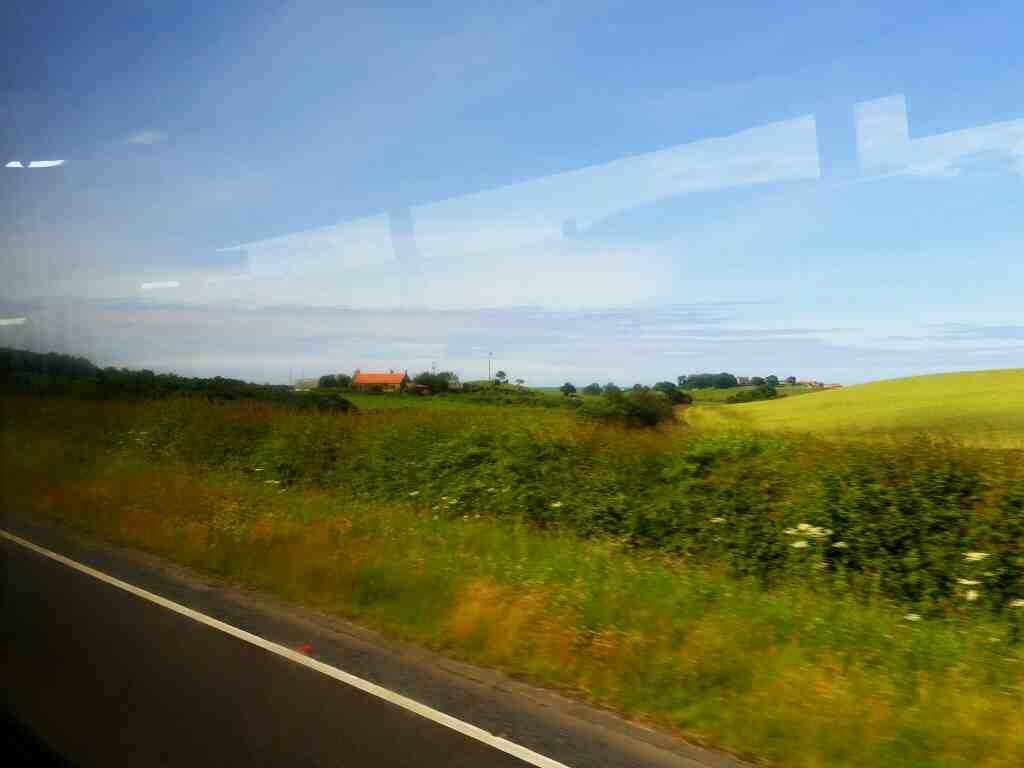 Heading Nortbound on the A1 in Northumberland on a X15 Newcastle to Berwick bus