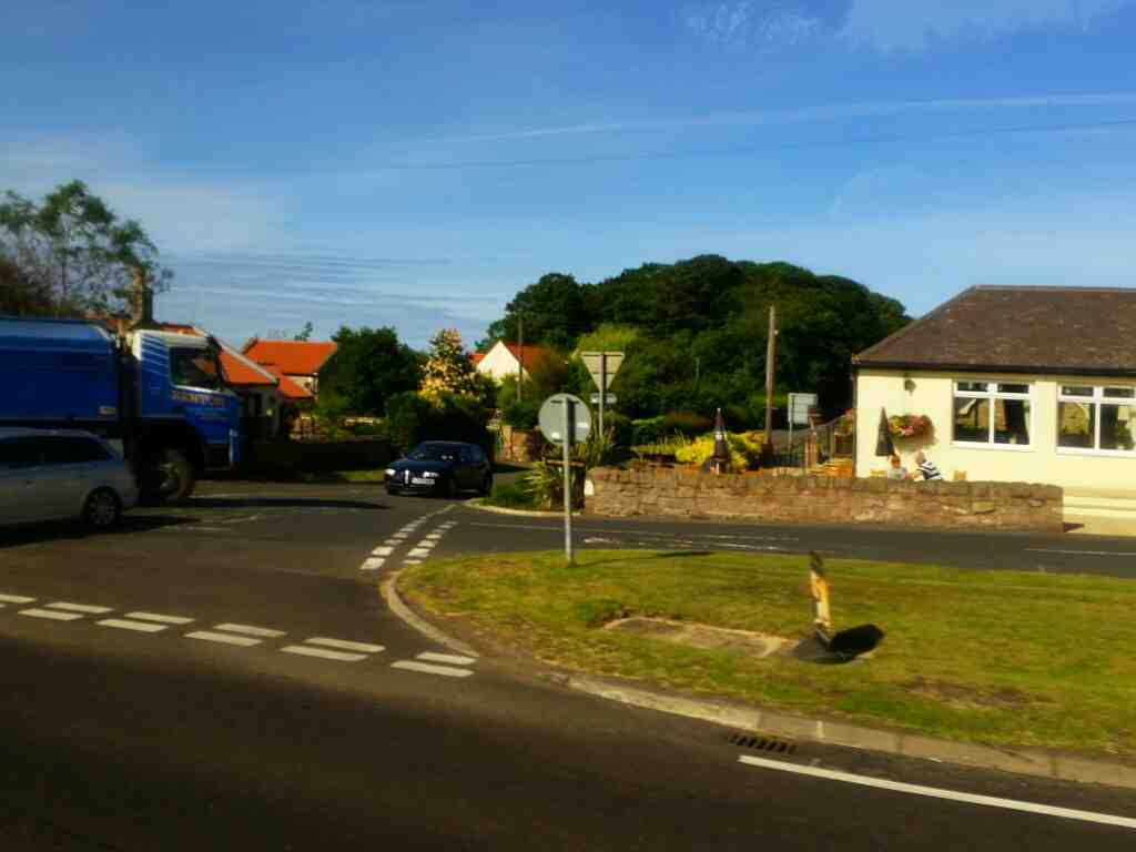The junction of the road to Lindisfarne and the A1 on a X15 Newcastle to Berwick bus