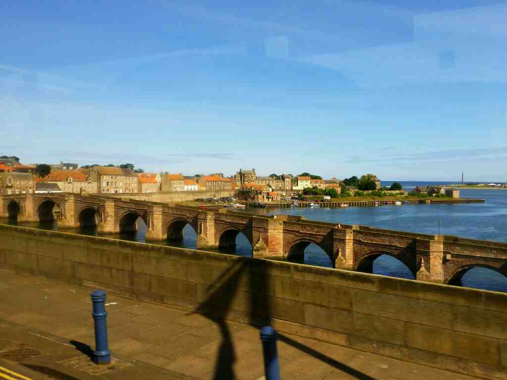 Crossing the Royal Tweed Bridge Berwick on a X15 Newcastle to Berwick bus