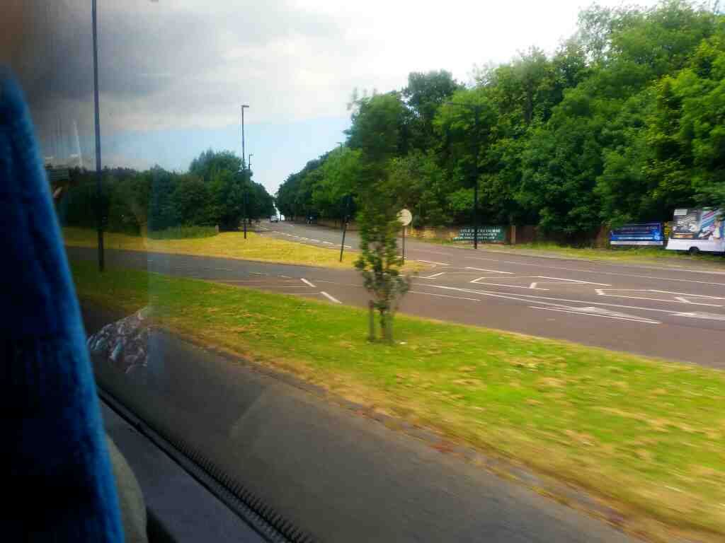 Approaching the junction of Great North Road and the A1 just south of North Gosforth on a X15 Newcastle to Berwick bus