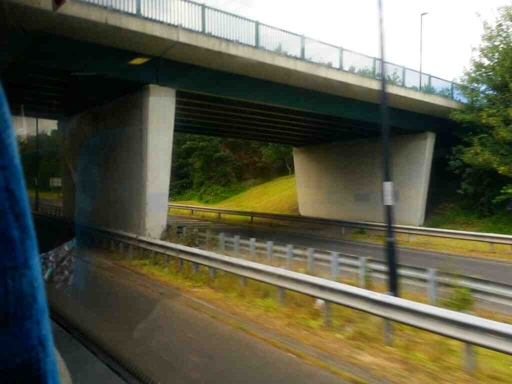 Passing under a slip road of Great North Rd on a X15 Newcastle to Berwick bus