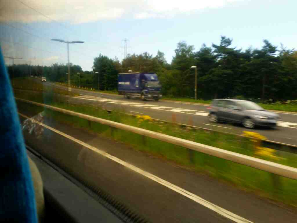 Junction of the A1 and the A19 on a X15 Newcastle to Berwick bus