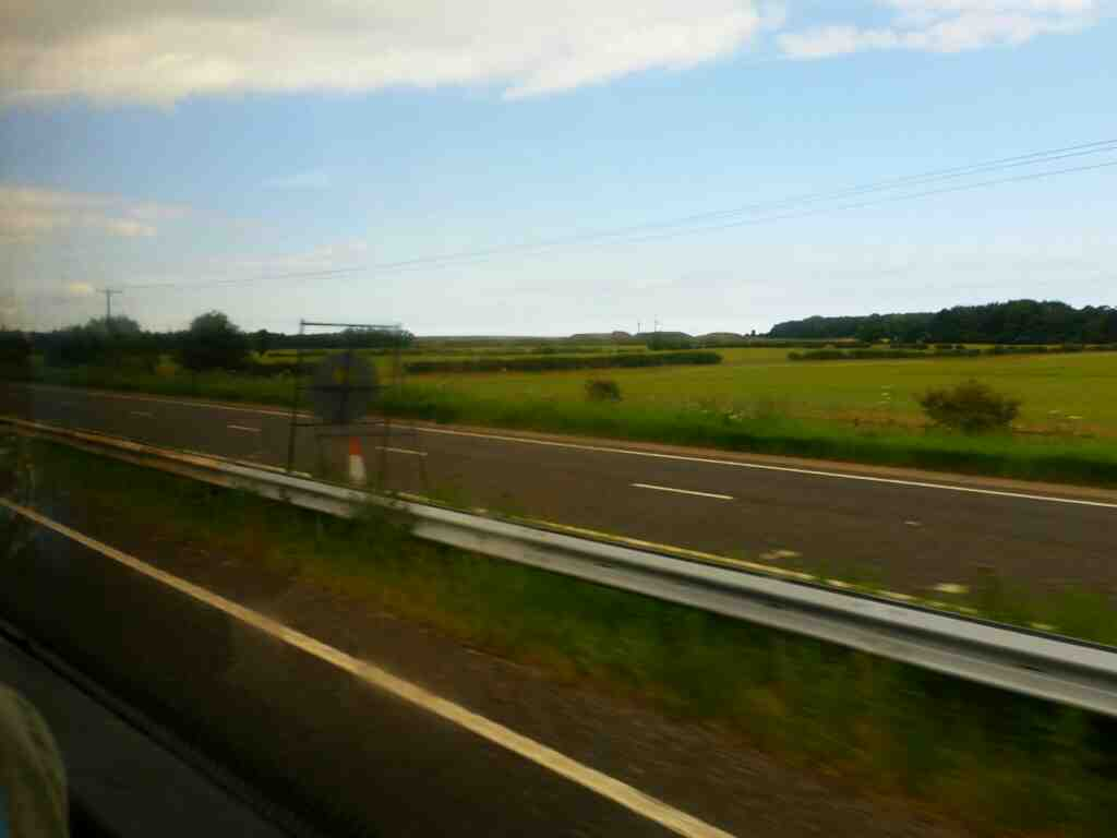 The A1 north of the Newcastle Bypass on a X15 Newcastle to Berwick bus