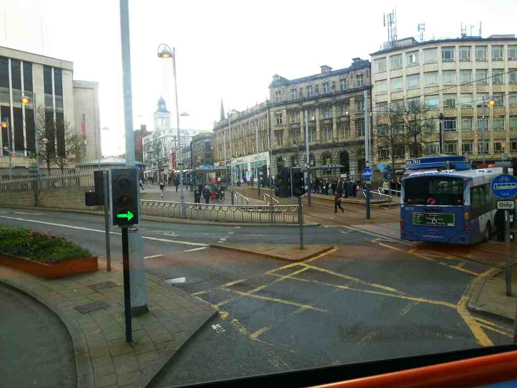 High St and Castle Square Tram Stop Sheffield from a 265 bus