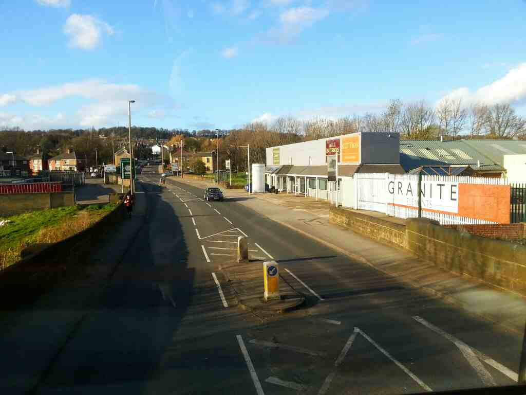 Heading into Worsbrough Bridge along the A61 Park Road on a 265 bus