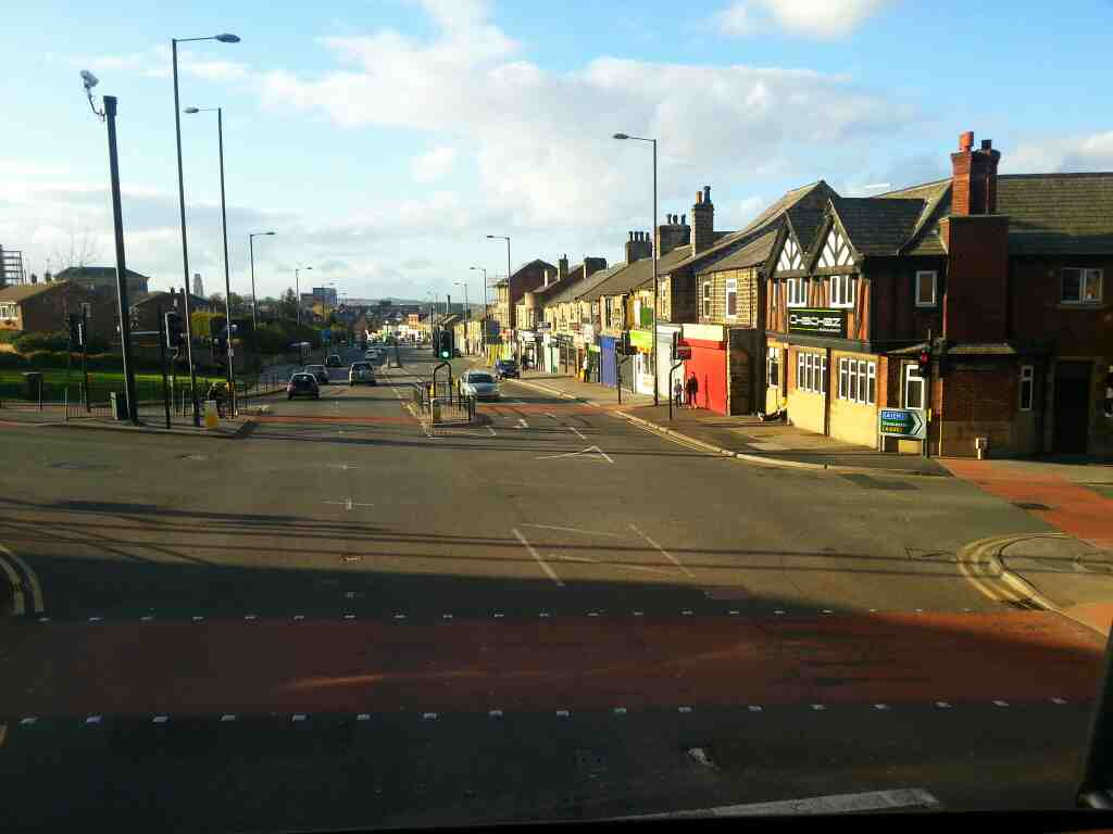 Junction of Park Rd Cemetery Rd and Sheffield Rd Barnsley on a 265 bus