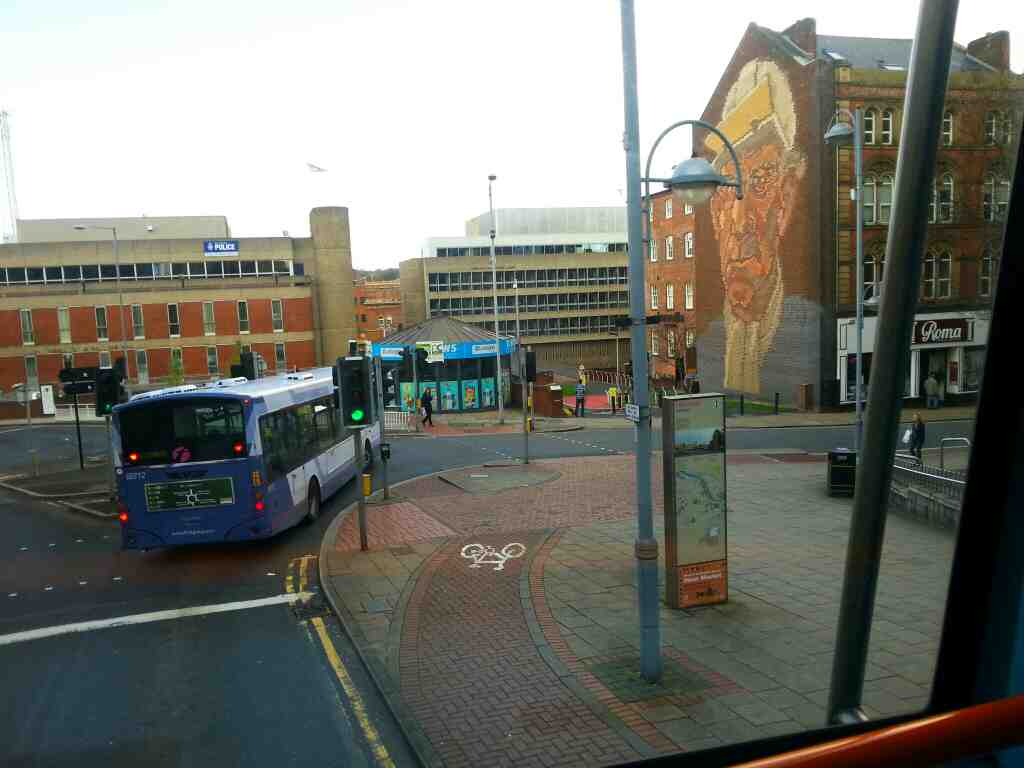 Junction of Angel St and Castle St Sheffield off a 265 bus