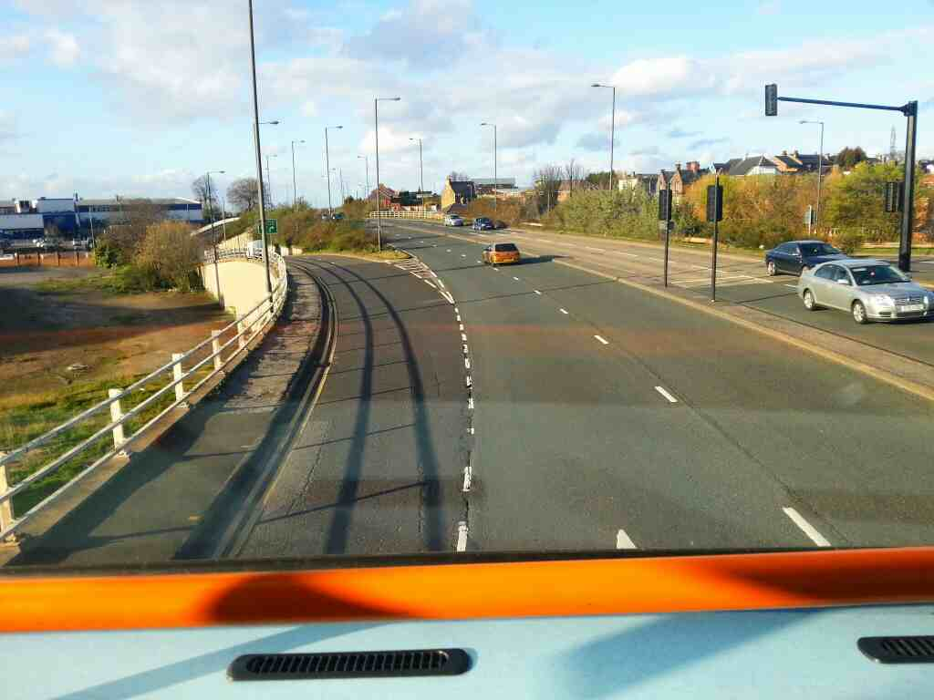 Turning off Harborough Hill Rd the A61 to head for Kendray St Barnsley on a 265 bus