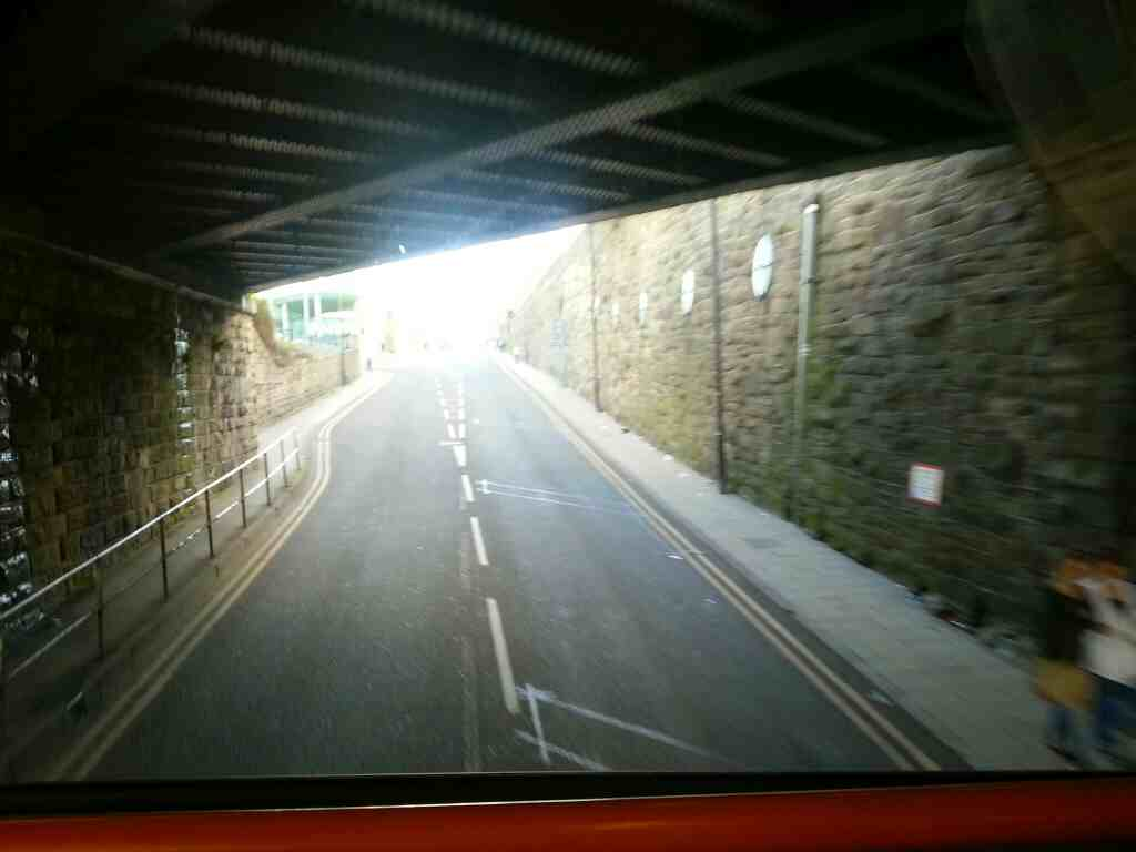 Eldon St North Barnsley passing under the railway on a Stagecoach 265 bus