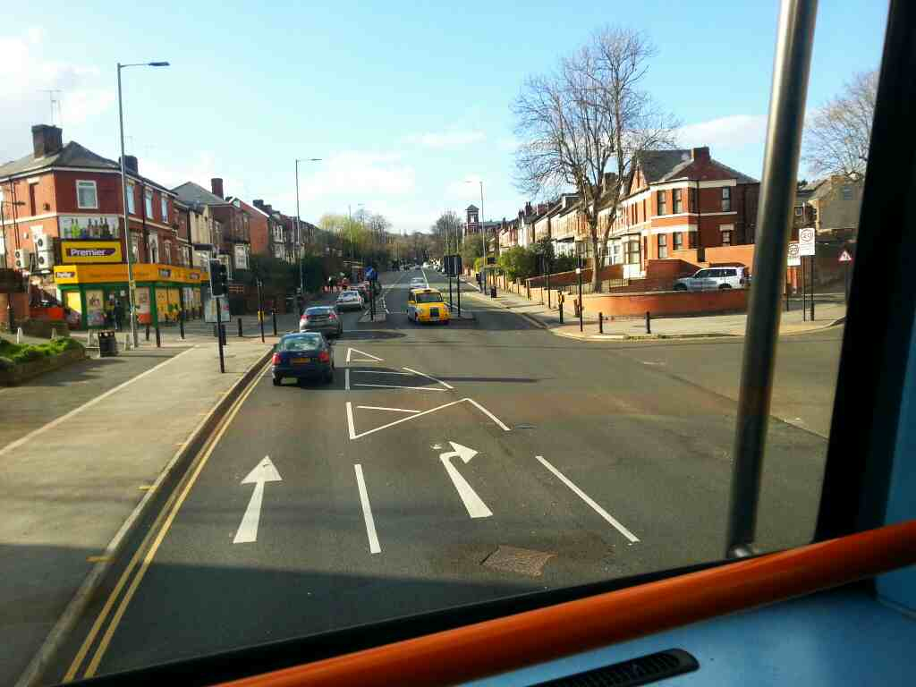 Junction of Catherine Rd and Burngreave Rd Sheffield off a 265 Barnsley bound bus passes the Burngreave Road Premier Store