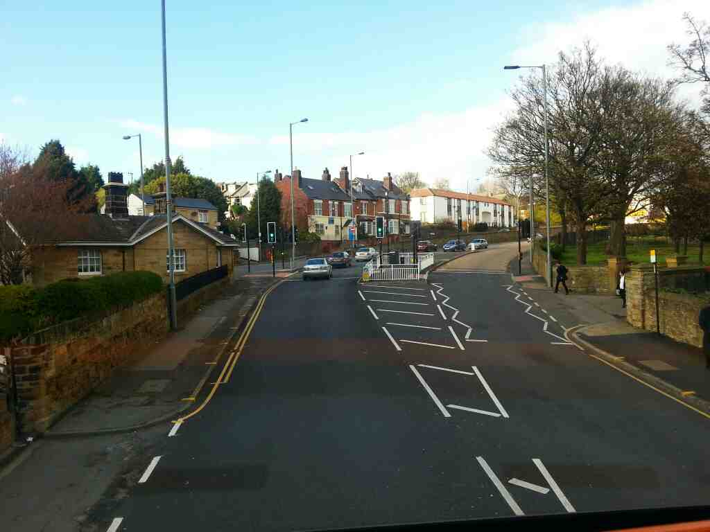 Junction of Barnsley Rd Pitsmoor Rd and Burngreave Rd Sheffield off a Barnsley bound 265 bus