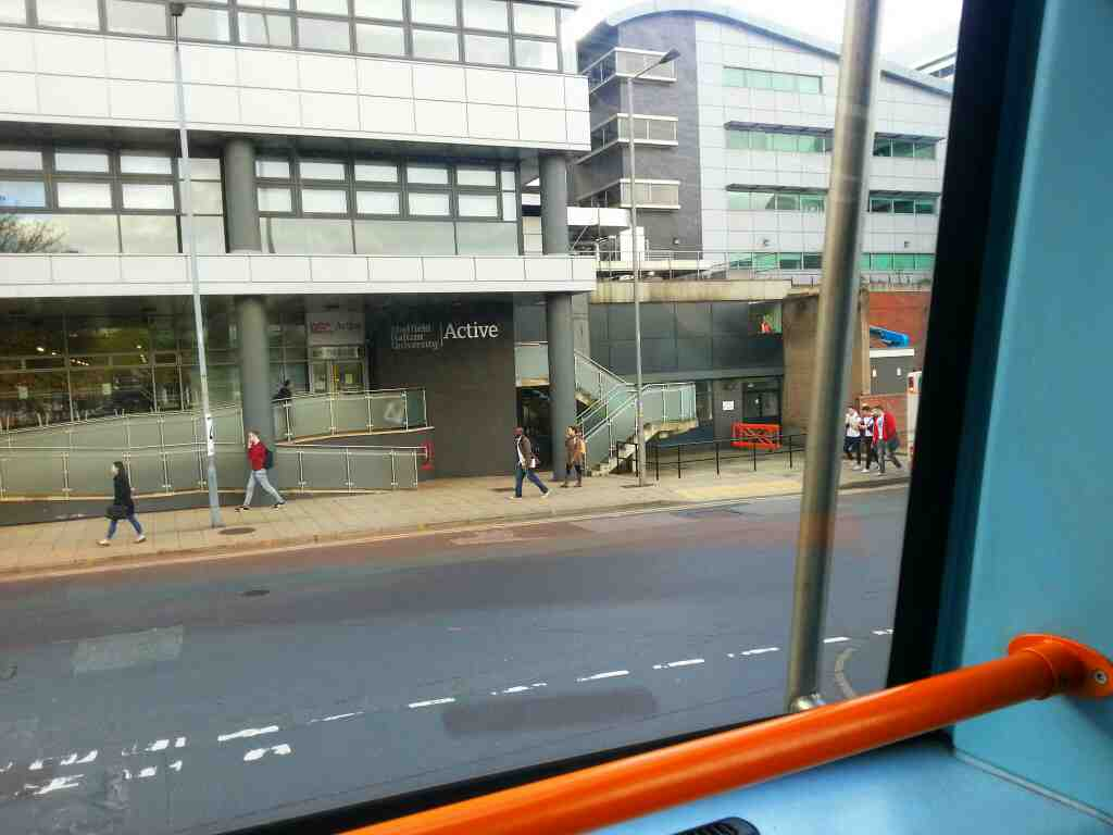Junction of Harmer Lane and Pond St Sheffield on a 265 bus
