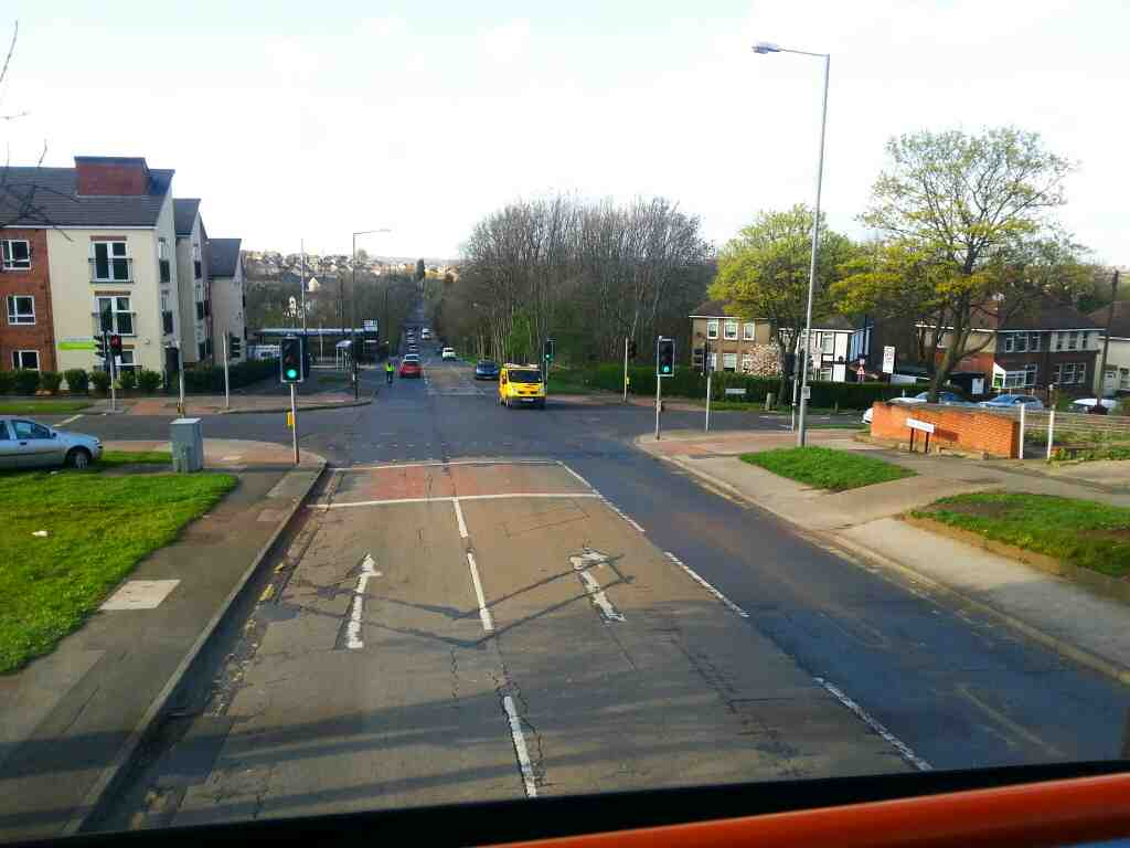Junction of Deerlands Avenue Hartley Brook Rd an Barnsley Rd Sheffield on a 265 bus