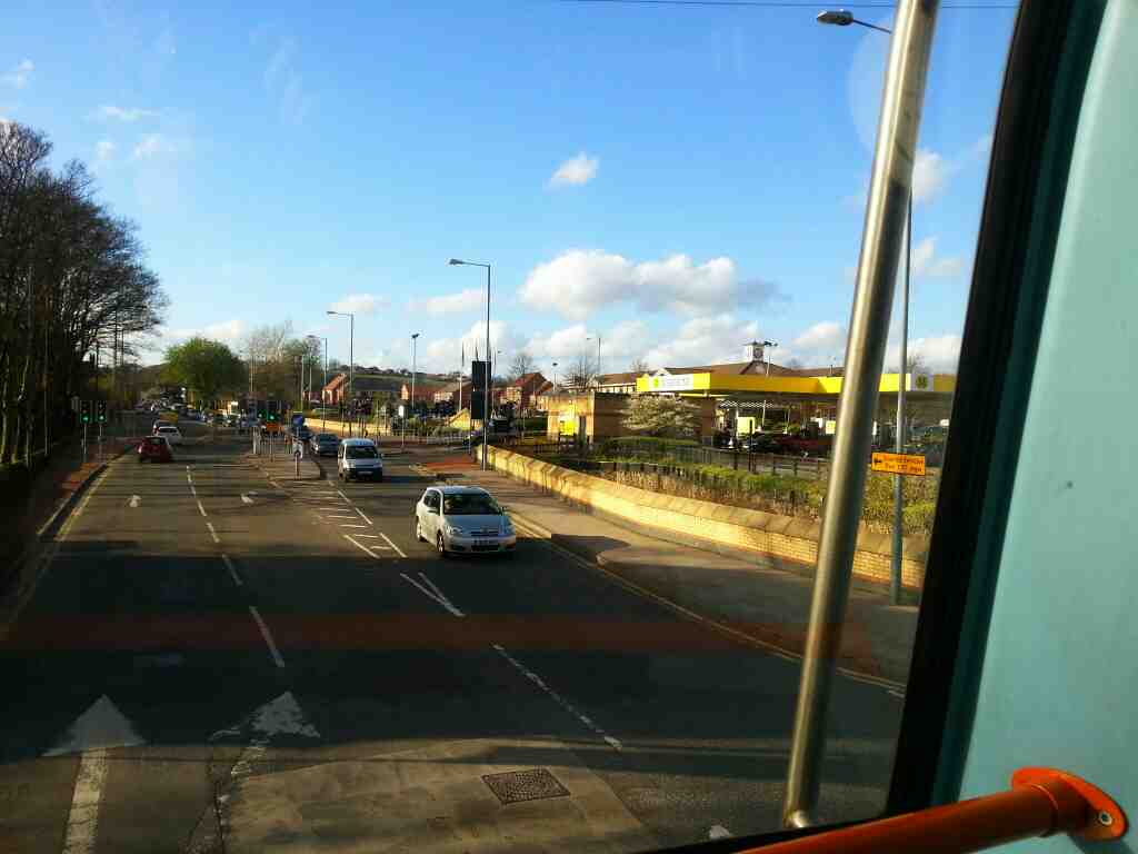 Passes Morrison's Ecclesfield on the Common 265 Sheffield to Barnsley bus
