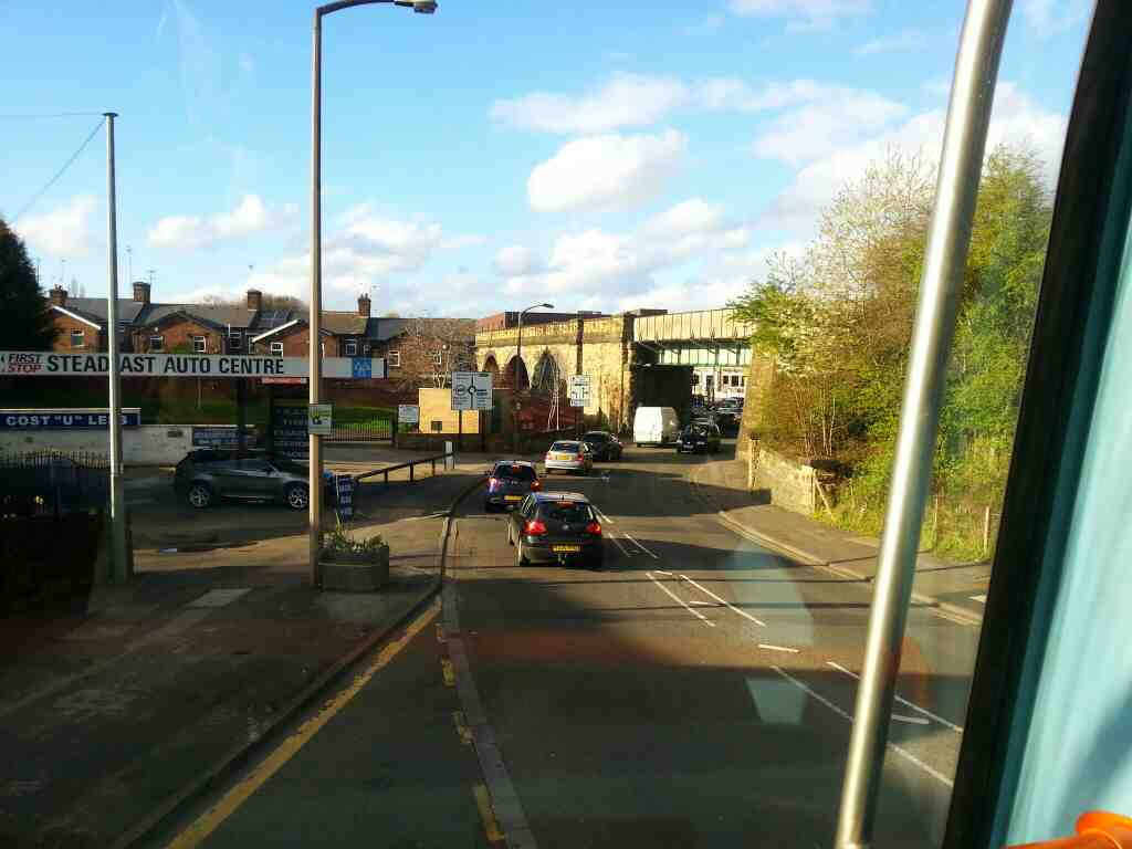 About to pass under the Main Sheffield to Leeds and Huddersfield via Barnsley railway on Ecclesfield Rd Chapeltown