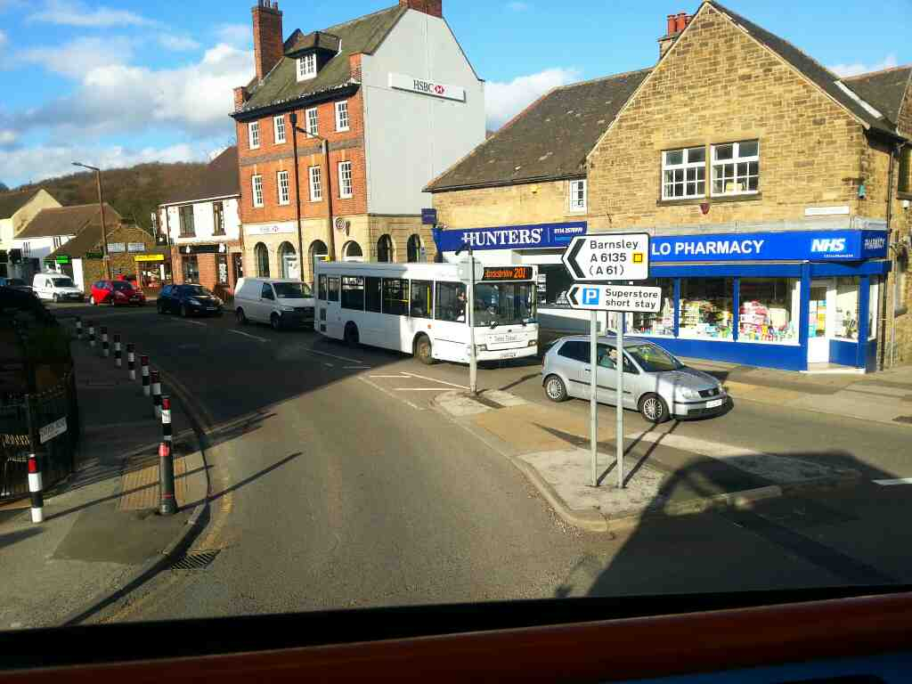 Turning into Station Road Chapeltown Sheffield on a Sheffield to Barnsley 265 bus