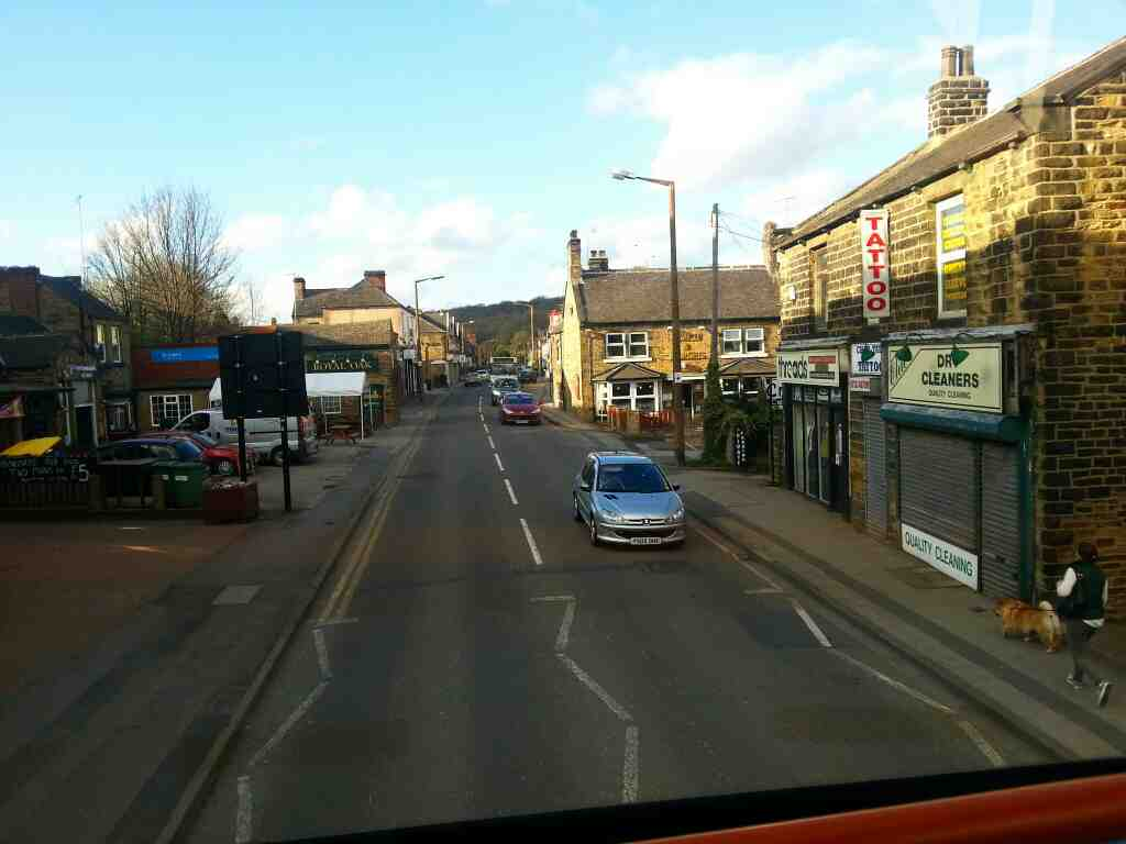 Passes the Coach and Horses and Royal Oak Pubs Chapeltown Sheffield Station Rd Sheffield on a Barnsley Bound 265 bus