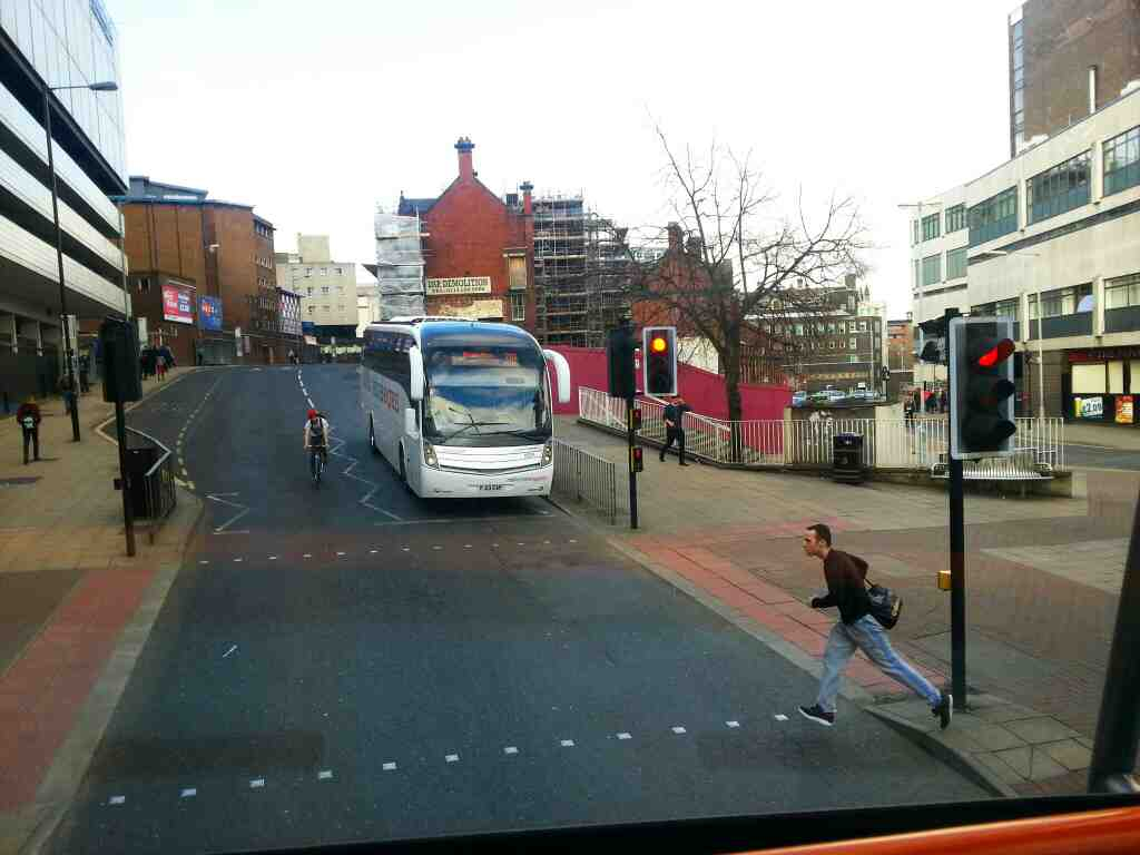 A 310 National Express Birmingham bound coach Pond St Sheffield off a 265 bus
