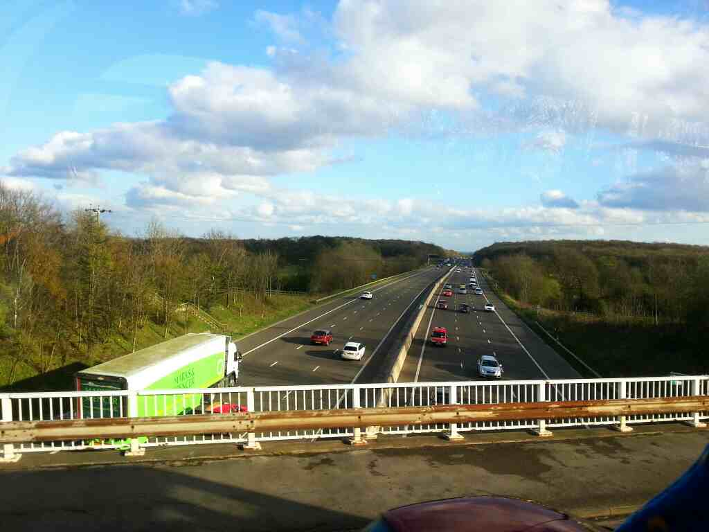 Crossing the M1 motorway on the A6135 Chapeltown on a 265 bus