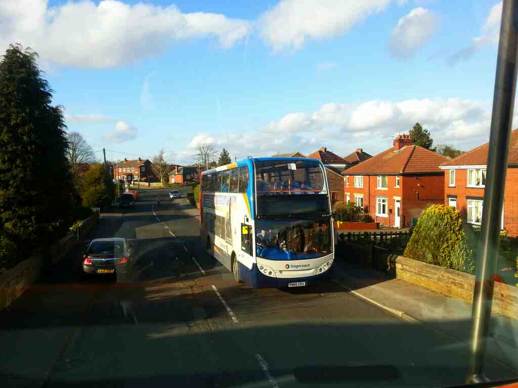 265 Sheffield bound bus on Worsbrough Rd taken off a Barnsley bound bus