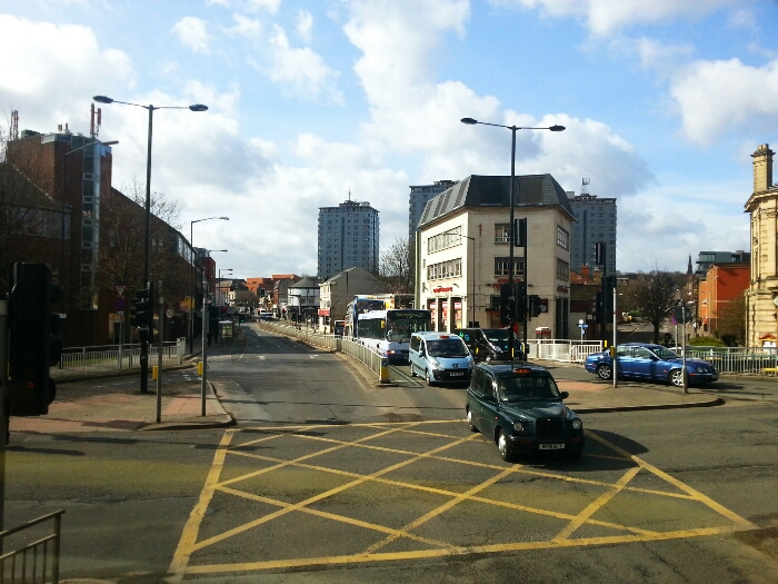 Crossing the Sheffield Inner ringroad at the bottom of London Rd.