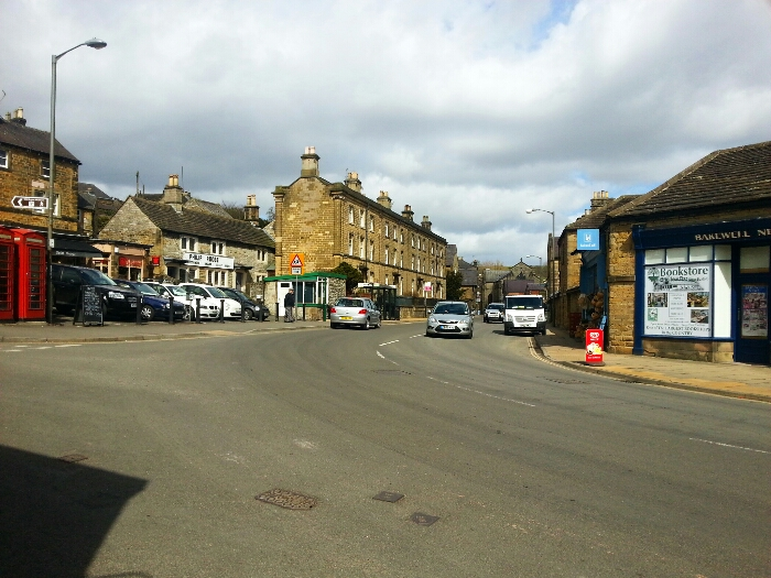 Looking along the A6 in Bakewell towards Buxton and Manchester
