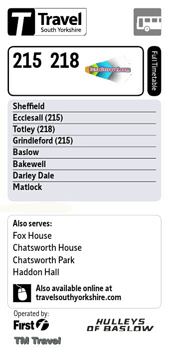 Download the tm travel 218 Sheffield Abbeydale Millhouses Beauchief Totley Owler Bar Baslow timetable bus times