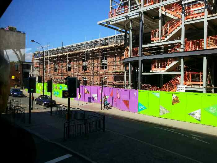Eyre St Sheffield The New Market buildings at Moorfoot being built