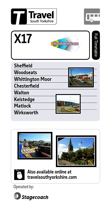 Download the Stagecoach X17 Sheffield Heeley Woodseats Meadowhead Whittington Moor Stonegravels Chesterfield timetable bus times
