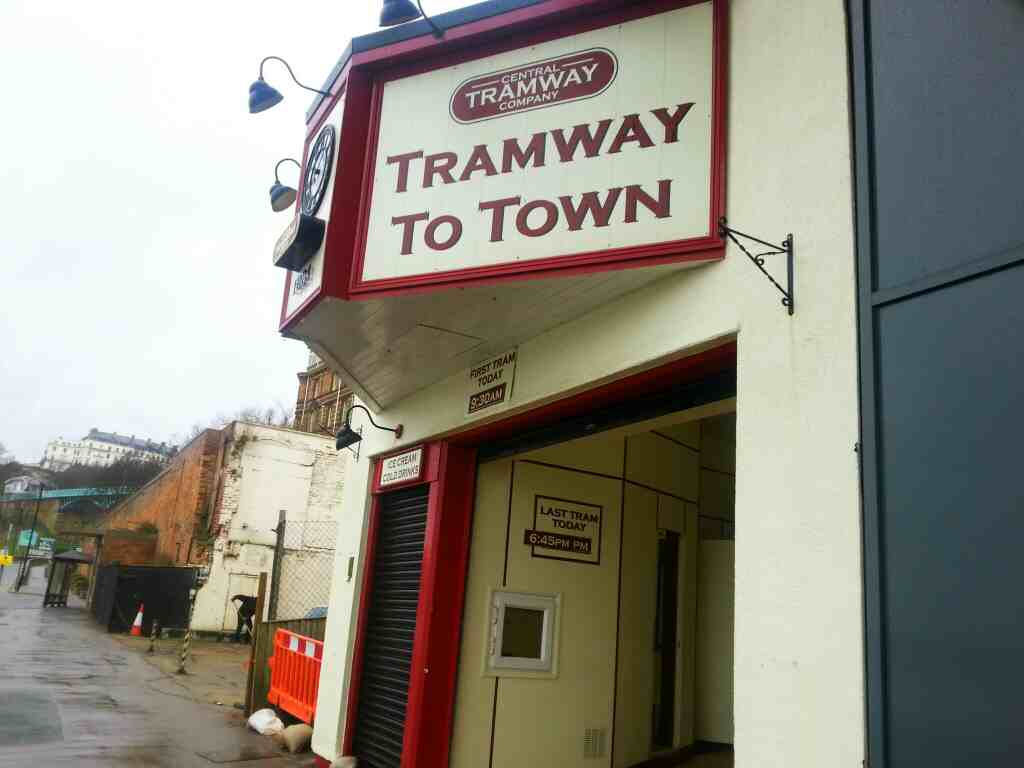 Entrance to the lower tramway station Scarborough north yorkshire